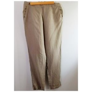 Eileen Fisher M linen tan pants tapered leg